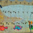 Graffiti and street art in Barcelona, the shark of the Carmel