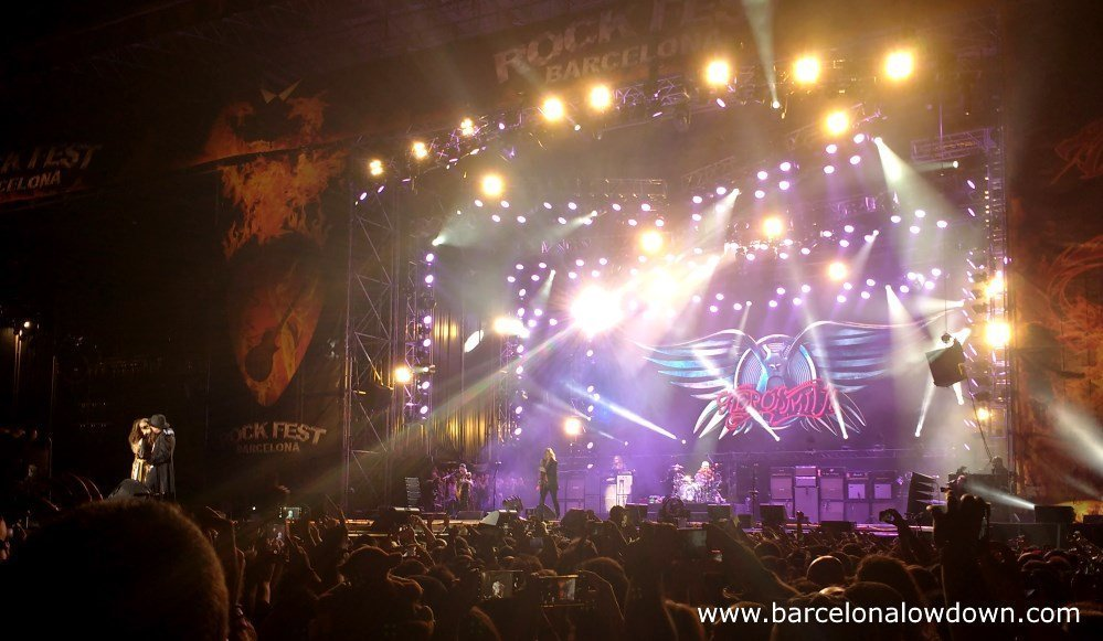 Rock legends Aerosmith performing live at Rock fest Barcelona 2017