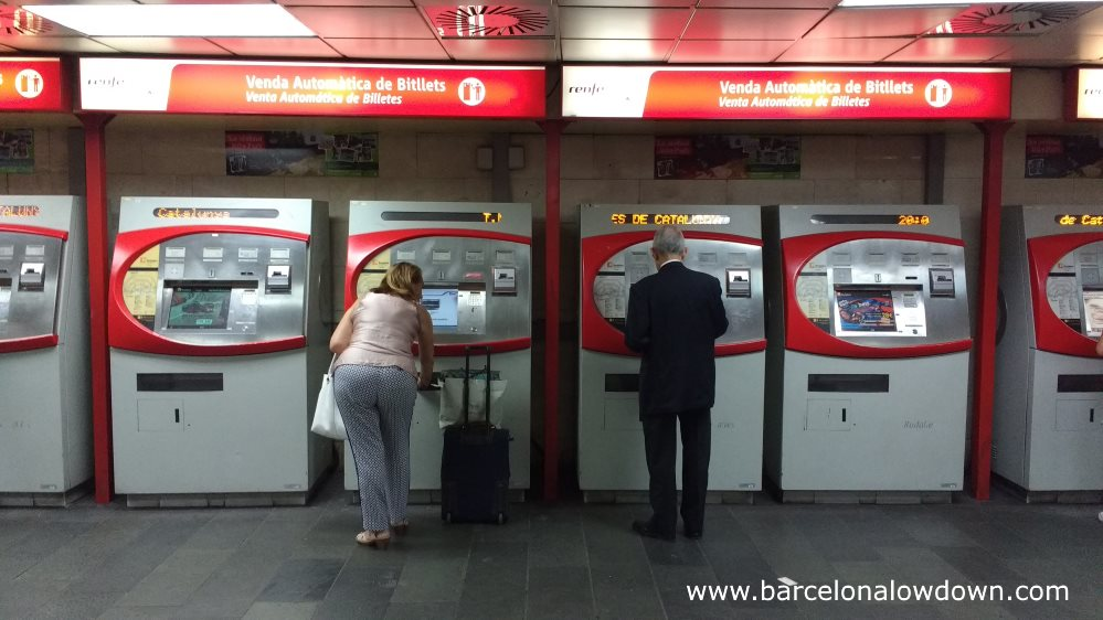 ticket machines at a Barcelona train station