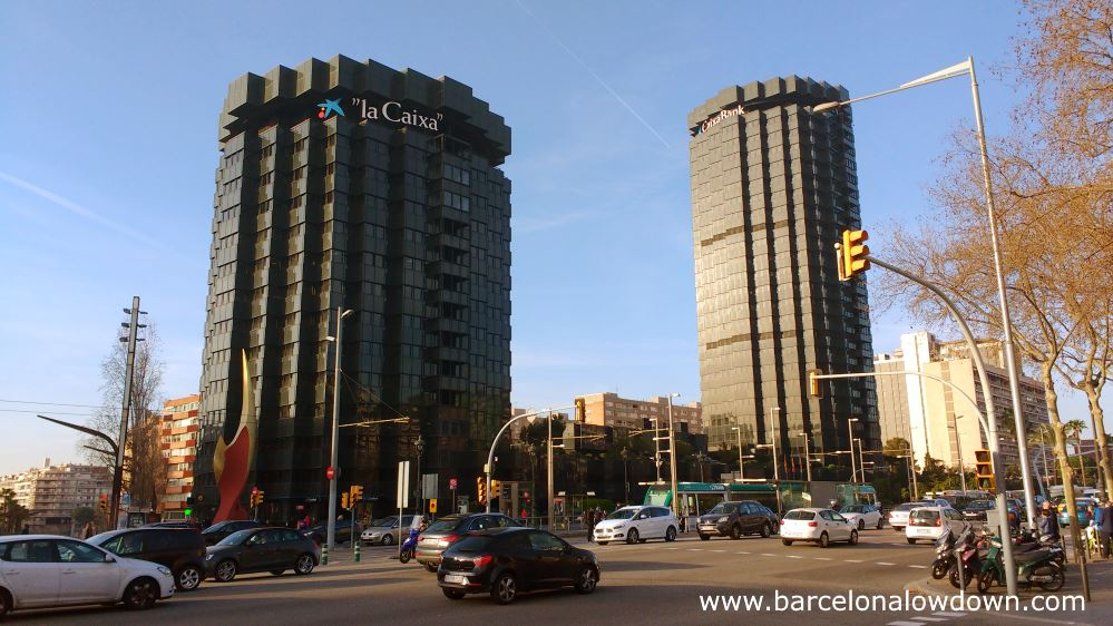 The La Caixa skyscrapers which are near to the Nou Camp in Barcelona