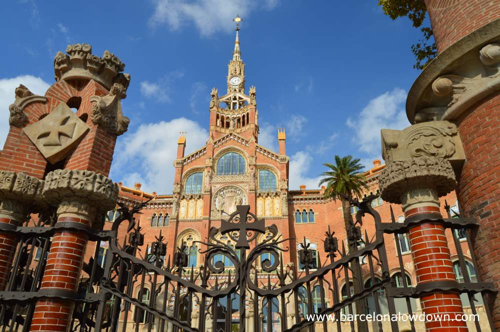 Iron gates in front of the main entrance to the Hospital de Sant Pau art nouveau site, Barcelona