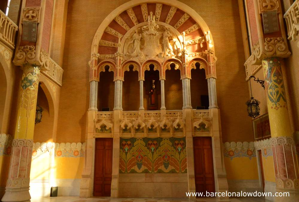 Highly decorated partly tiled walls inside the administration building of the Hospital de Sant Pau Art Nouveau site