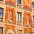 Frescoes on one of the Cerda buildings in Barcelona's Eixample district.