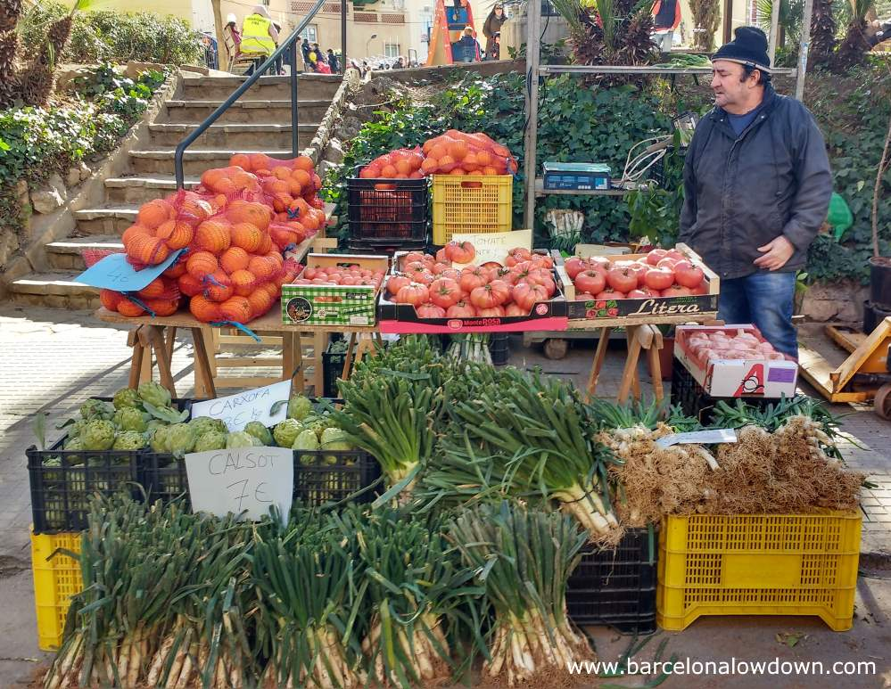Market stall selling calçots, artichokes tomatoes and oranges at the Fira de la Candelera fair, Molins de Rei, Barcelona, Catalonia, Spain