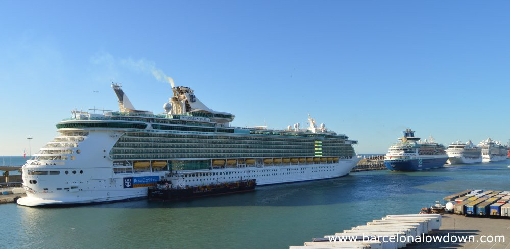 4 cruise liners at Barcelona's Moll Adossat cruise terminals 15km from the airport