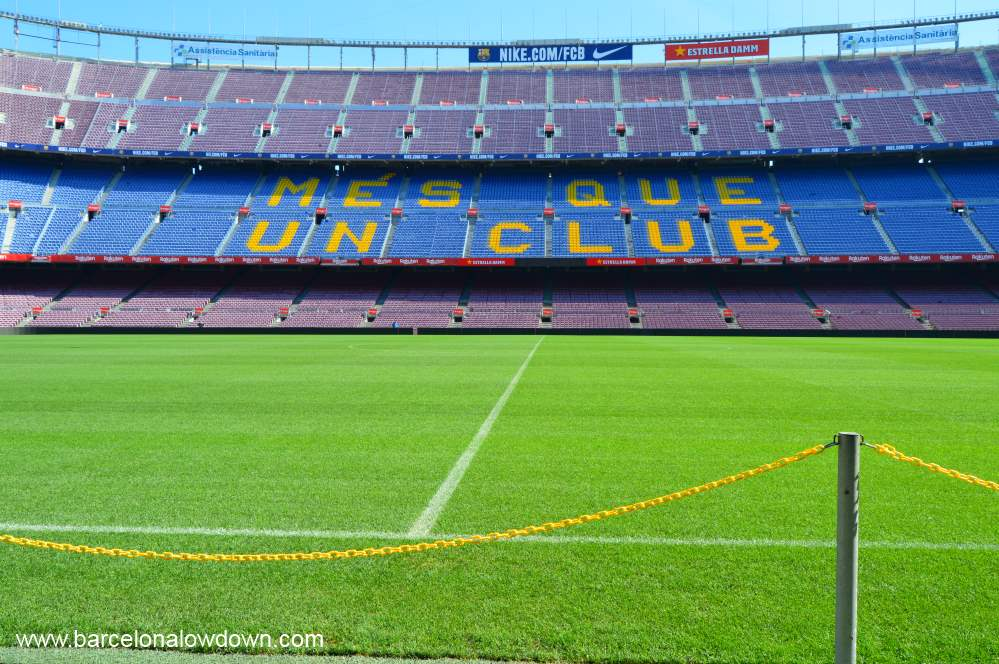 View of the pitch from the sidelines during the Camp Nou Experience Barcelona football club stadium tour.