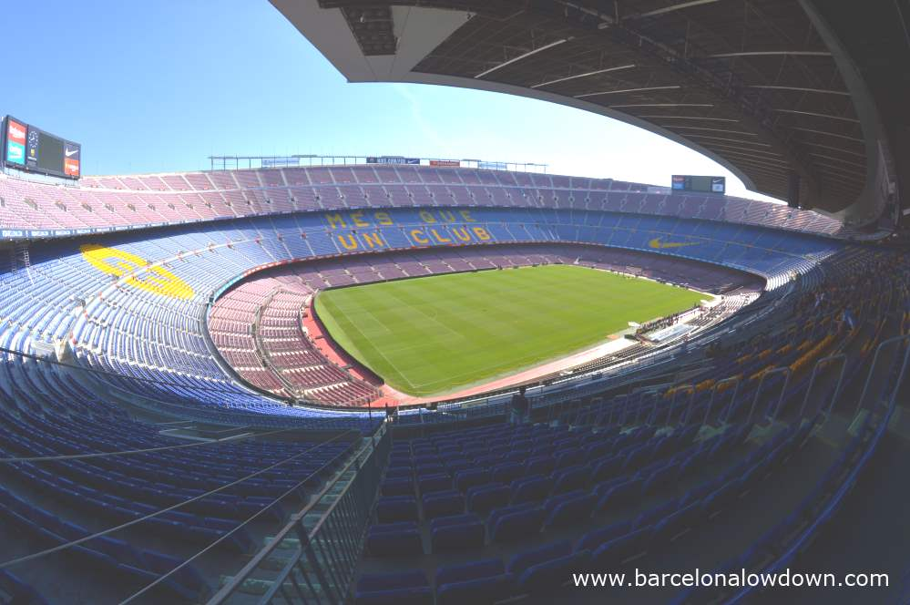 A view of FC Barcelona's Camp Nou stadium taken using a fisheye lense.