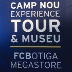 Camp nou experience tour and museum sign at FC Barcelona football stadium