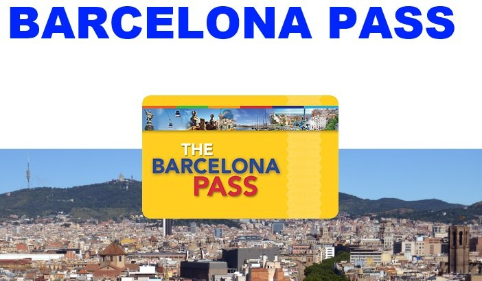 The bright yellow barcelona pass travel card displayed in front of a photo of the Barcelona skyline with Mt. Tibidabo
