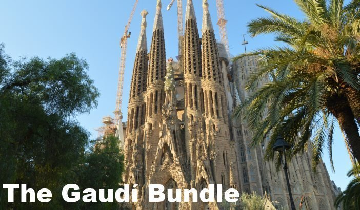 Photo of the Sagrada familia in Barcelona with the words the gaudi bundle in white letters