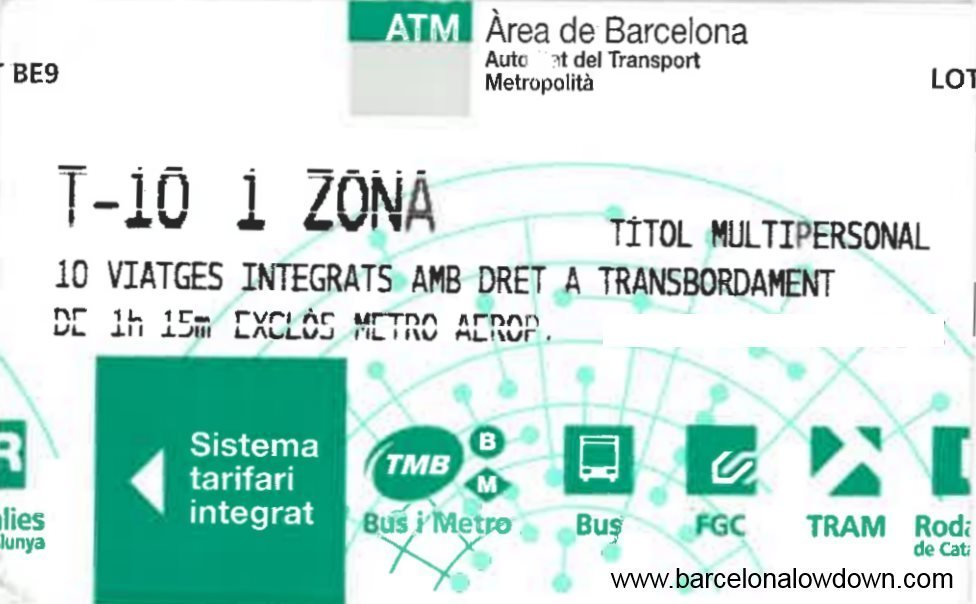 Close up photo of the t-10 barcelona public transport pass