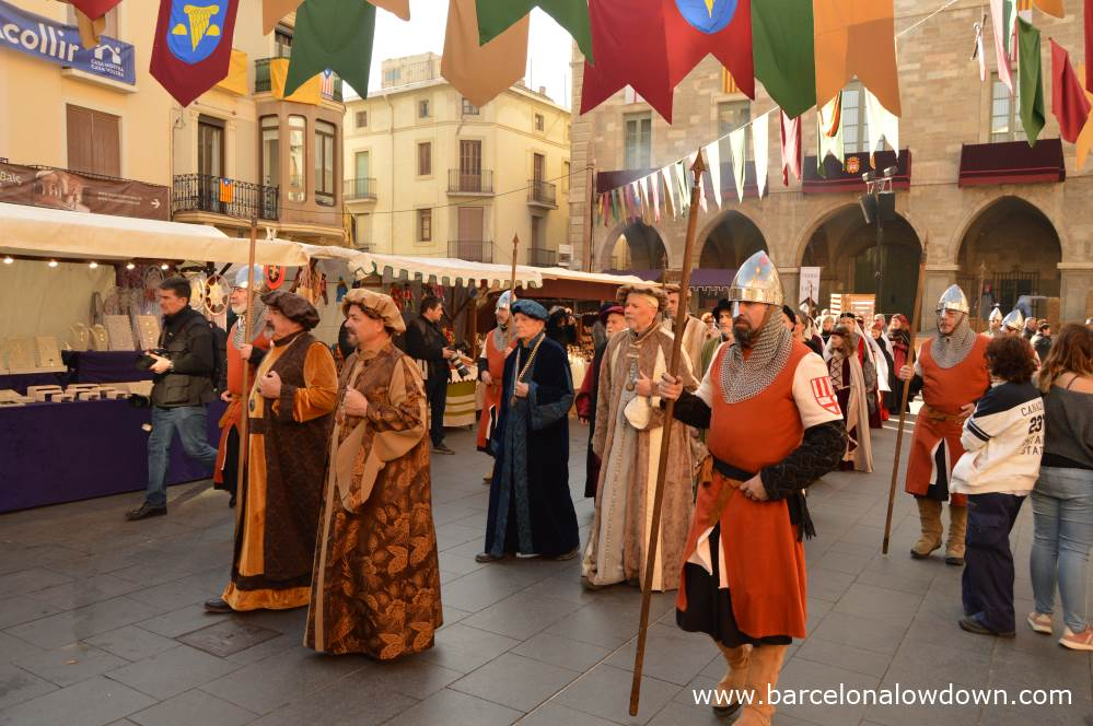 Manresa Town Hall during the anual medieval fayre la Fira de l'Aixada