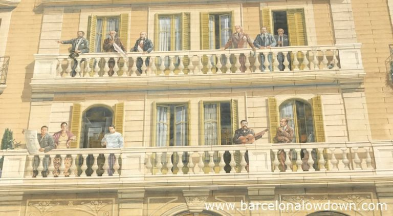 Close up photo of 2 balconies from the mural Balcons de Barcelona including Antoni Gaudi, Ildefons Cerda and Pablo Picasso