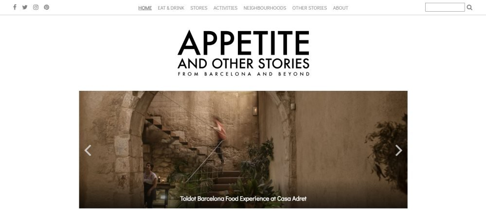 Screenshot of the homepage of top barcelona blog appetite and other stories