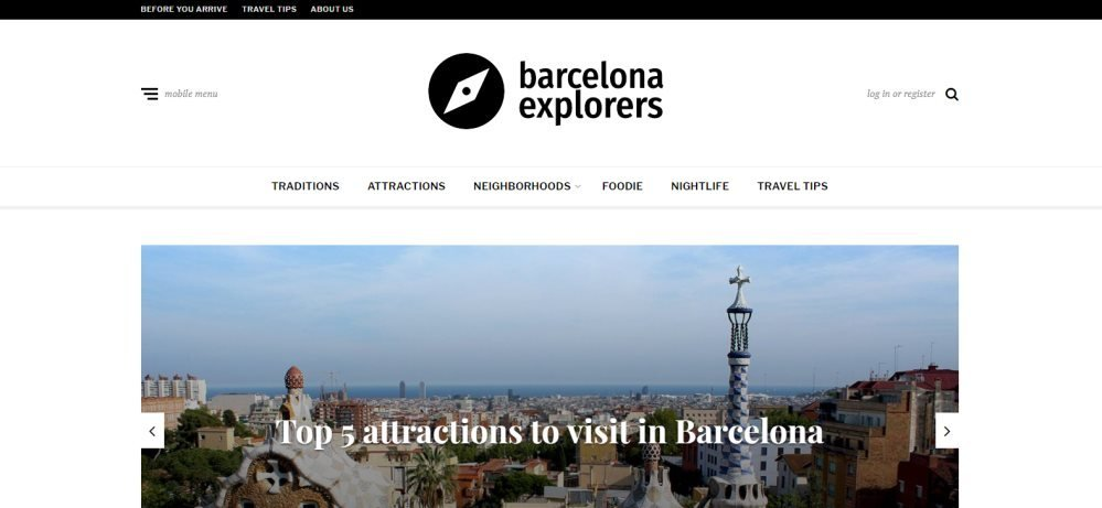 Homepage of the Barcelona Exploreres blog