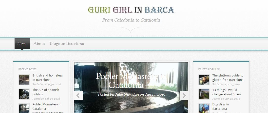 Homepage of Guiri Girl in Barcelona - one of my favourite ex pats blogs