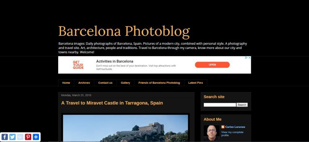 The Barcelona photo blog screen grab