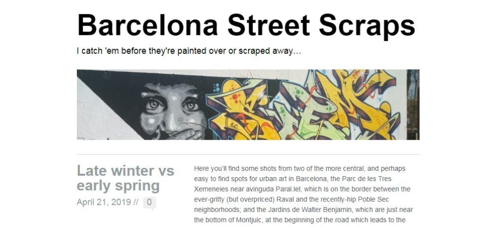 Screenshot of the Barcelona Street Scraps blog - one of my favourite Barcelona blogs