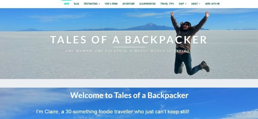 The homepage of tales of a backpacker aka tales of Barcelona