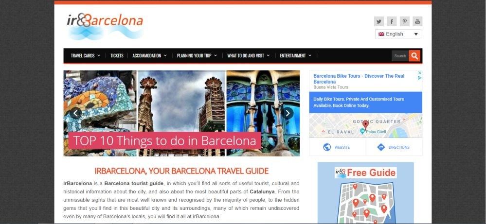Screen capture from the English language version of the ir Barcelona blog