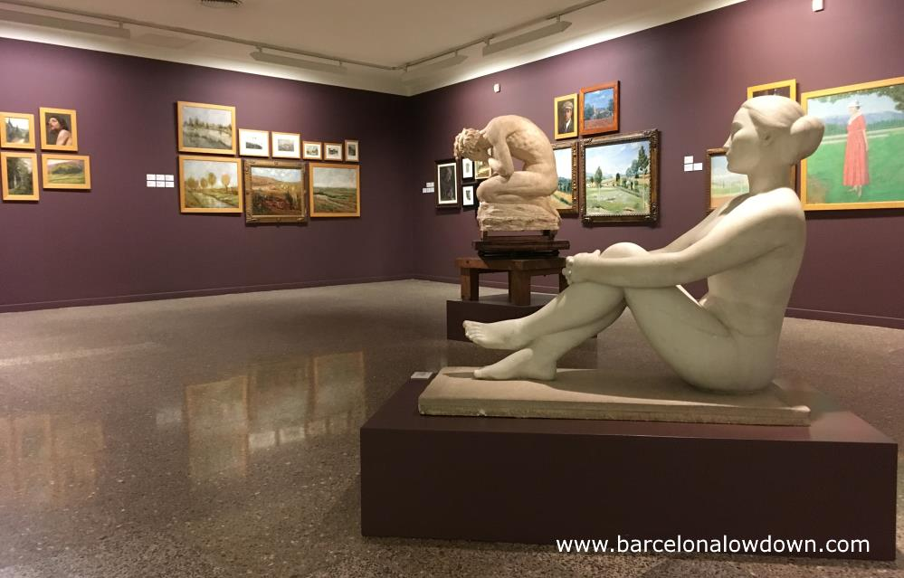 Statues and paintings in the Emporda museum in Figueras, Spain
