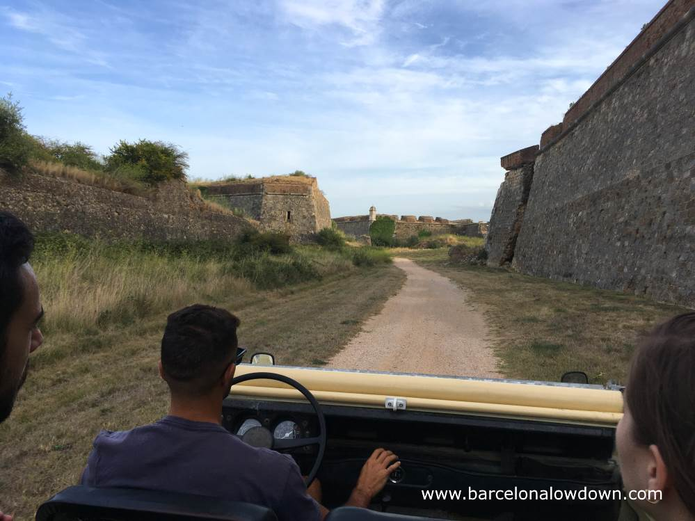 Jeep tour of the moat and battlements of the Sant Ferran castle, Figueres, Spain