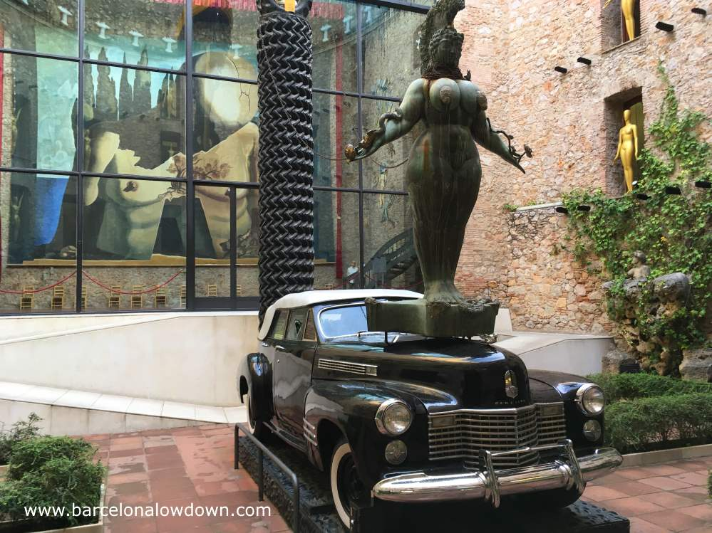 Black 1940s Cadillac convertible car which was owned by Salvador Dalí and is now a work of art in his museum, Figueres Spain