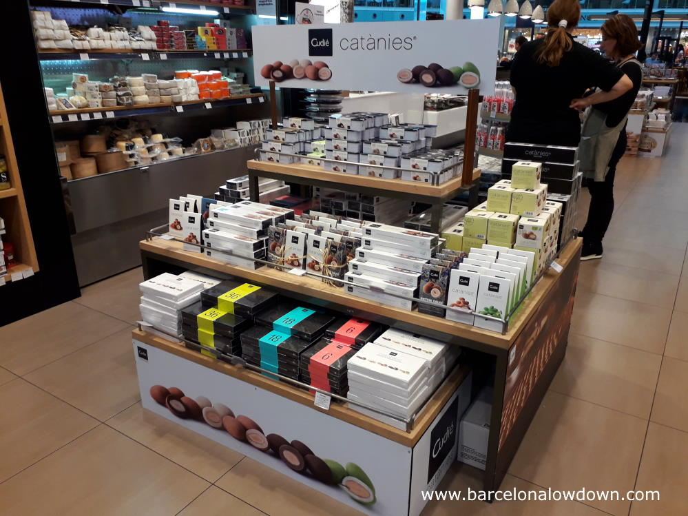 Catanies and other foodstuffs in a delicatessen at Barcelona airport