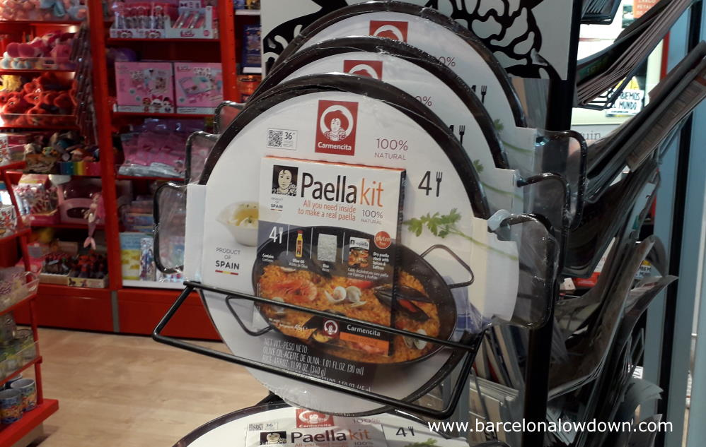 Souvenir paella kit complete with flavoring and rice at Barcelona airport