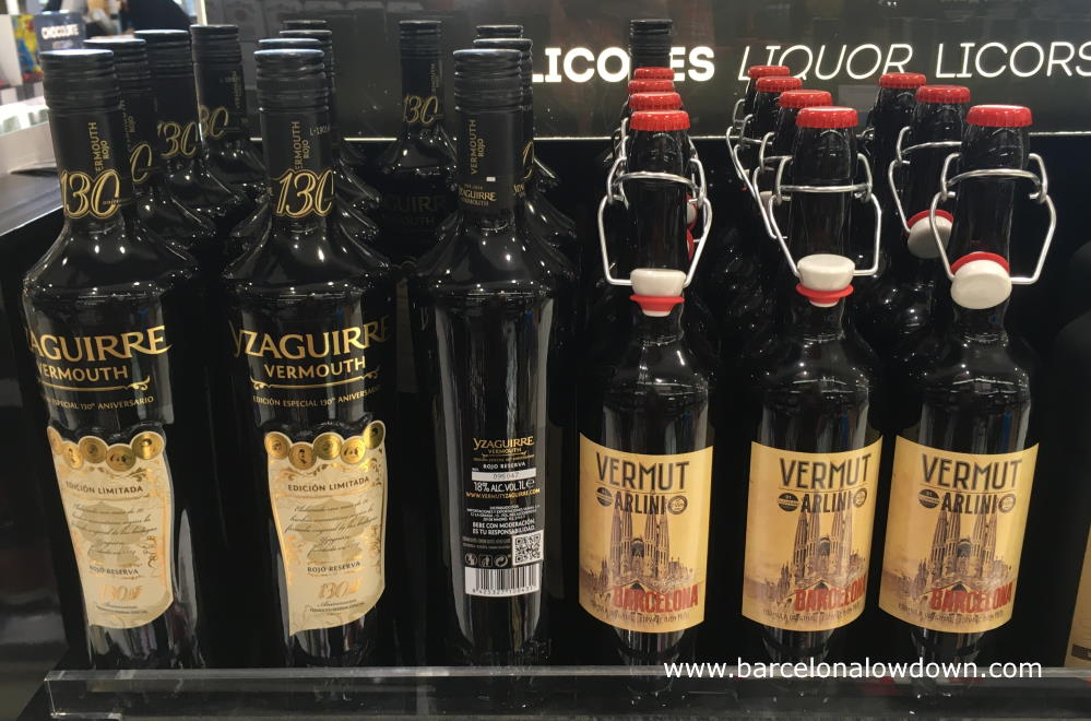 Bottles of vermouth in a store at Barcelona airport