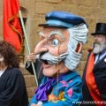 The Nose Man parade through the narrow streets of Barcelona's Gothic Quarter on New Years Eve