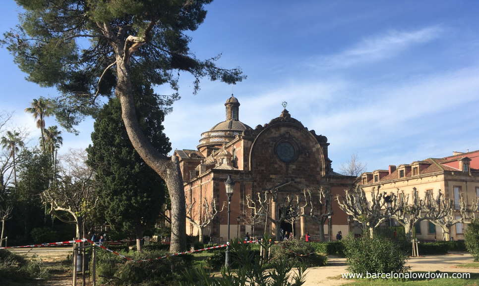 Military parish church surrounded by trees and bushes in the Parc de la Ciutadella or citadel park in Barcelona