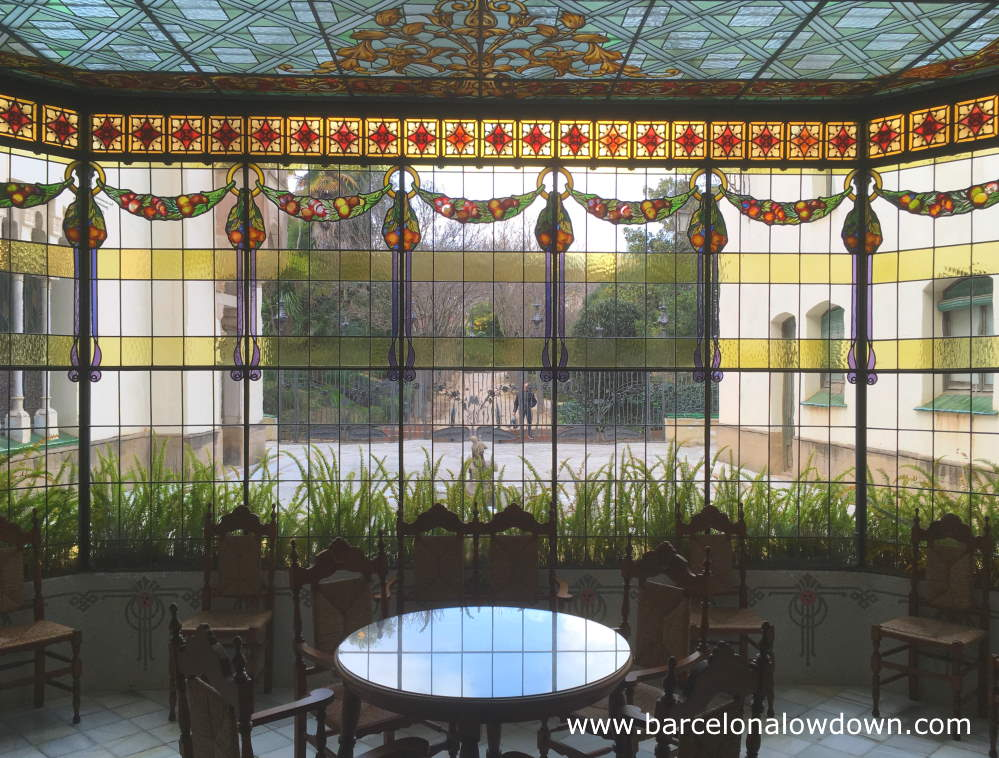 Art nouveau stained glass windows in the Casa Museu Alegre house in Terrassa, Spain