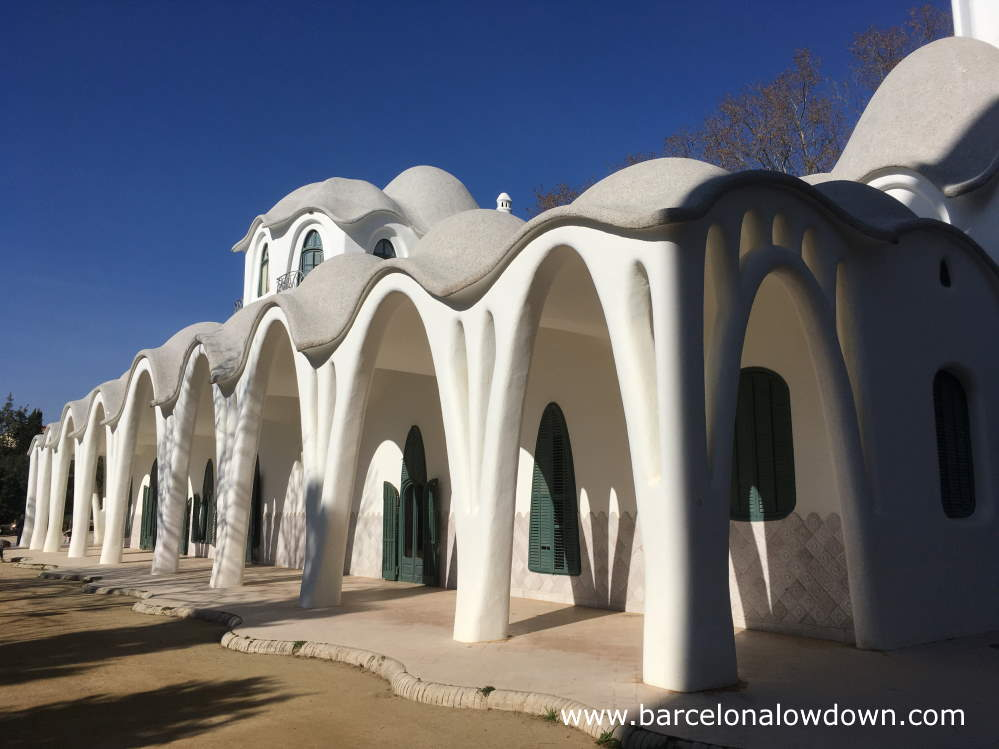White arches of the Masia Freixa mansion in Terrassa Spain