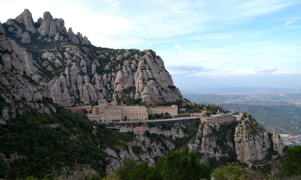 View of Montserrat monastery during a day trip from Barcelona