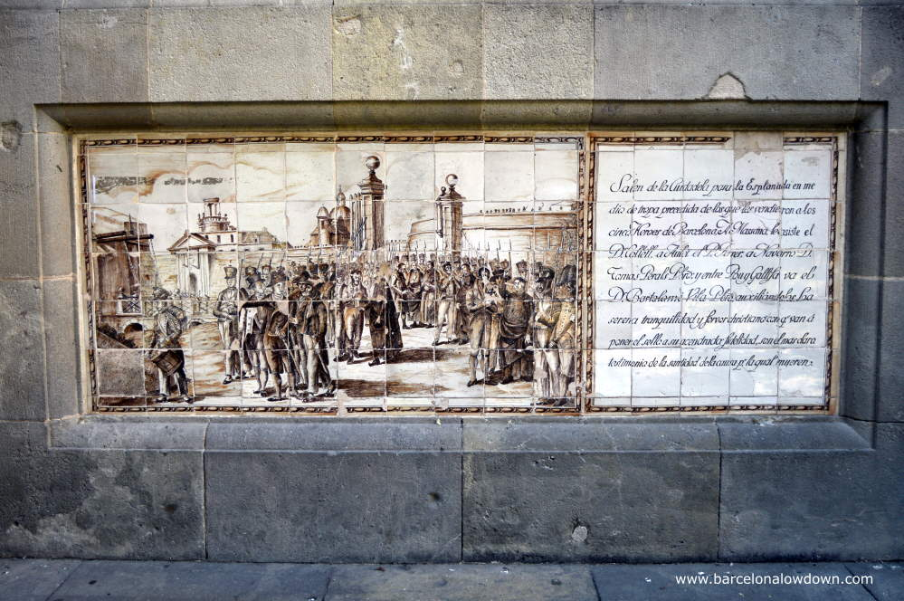 Painted tiles depicting the execution of the Martyrs of Independence in 1809