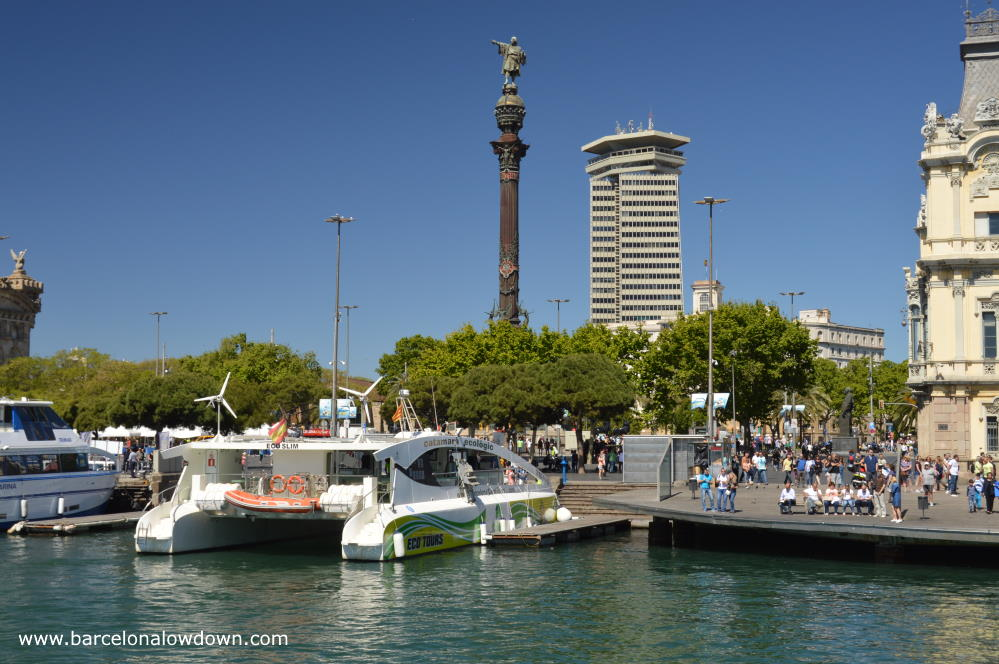 View of the Columbus Monument in Barcelona