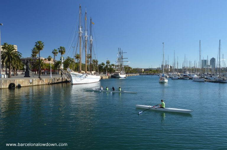 People rowing in Barcelona's Port Vell Harbour