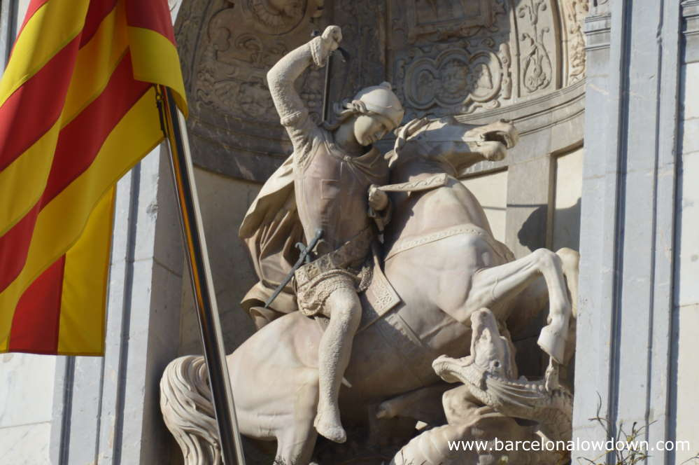 A statue depicting the legend of St. George and the Dragon in Barcelona
