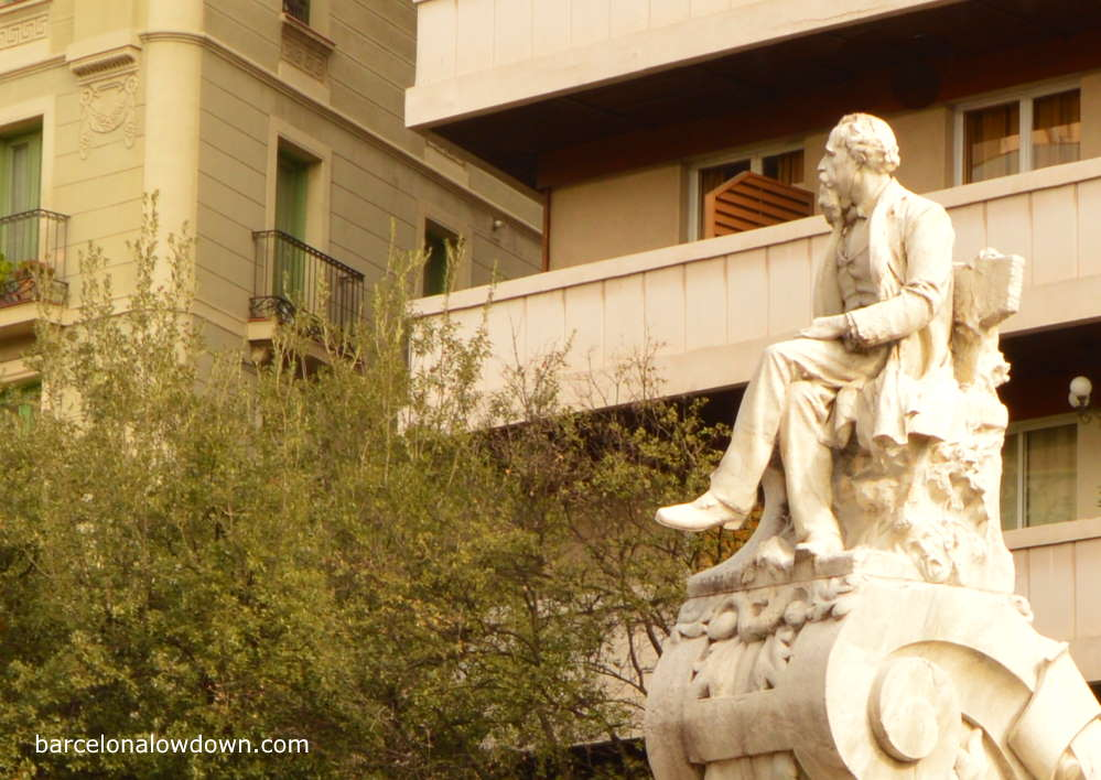 Marble monument to Frederic Solar on Las Ramblas in Barcelona