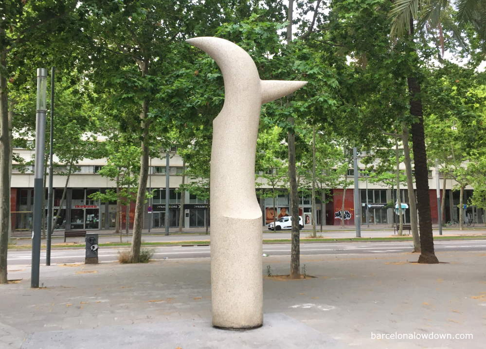 Modern art statue Malip next to the Rambla del Poblenou in the Sant Marti district of Barcelona