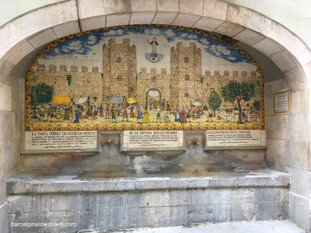 Tiled fountain on Carrer de Portaferrissa near to Las Ramblas, Barcelona