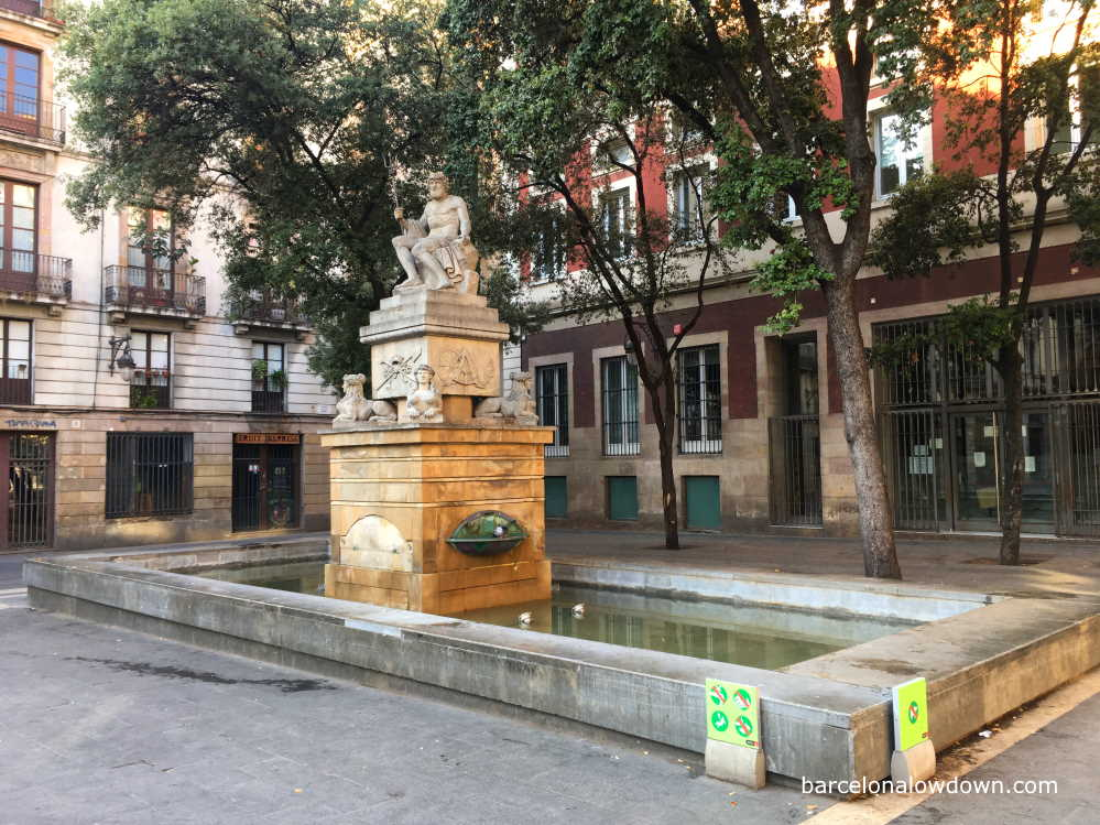 Neptune's Fountain in Plaça de la Mercè in Barcelona's Gothic Quarter