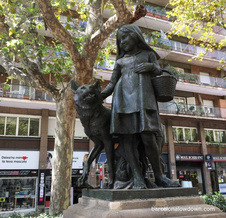 Bronze statue of Little Red Riding Hood in Barcelona