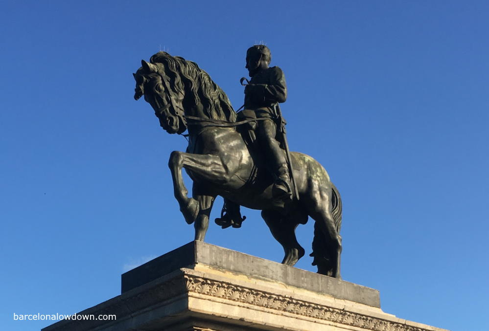Equestrian statue of Spanish general Joan Prim in military uniform in Barcelona
