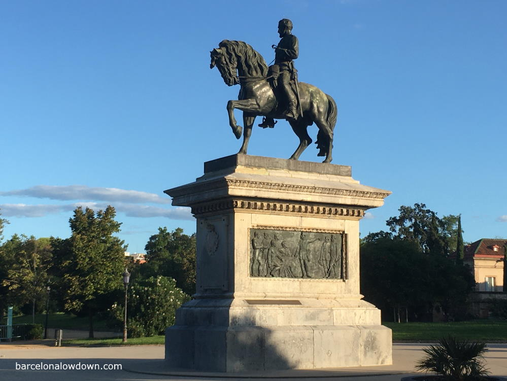 Statue of a soldier on horseback in the Ciutadella Park Barcelona