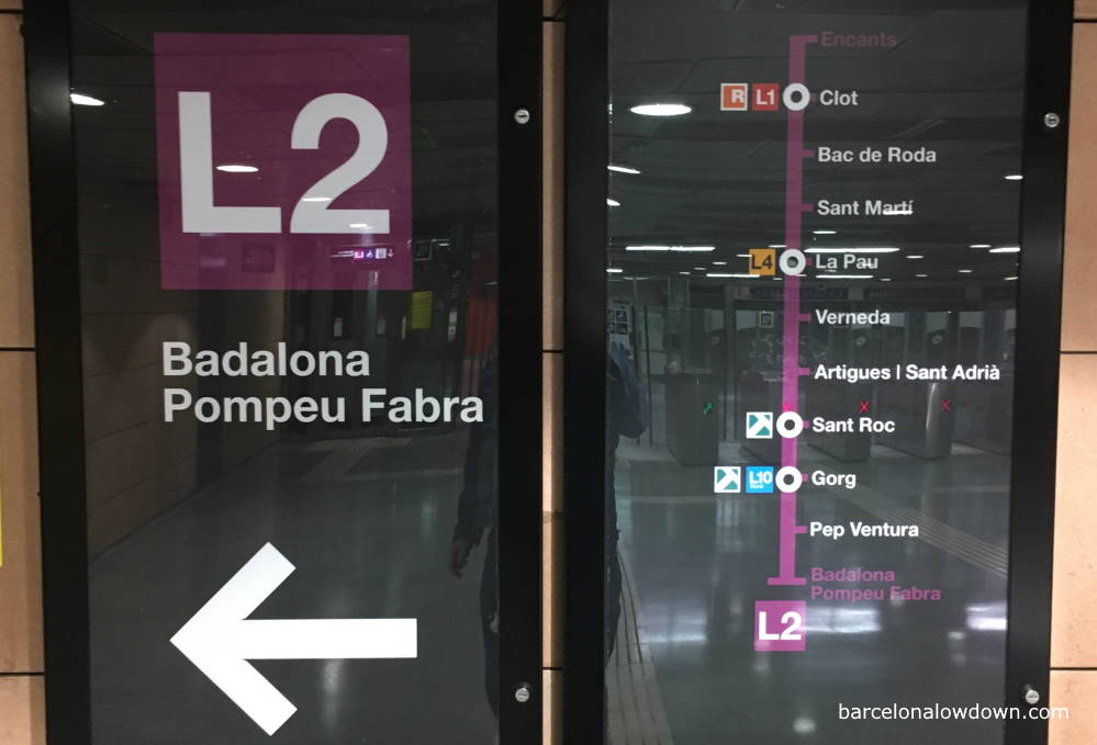 Signs on the Barcelona underground system