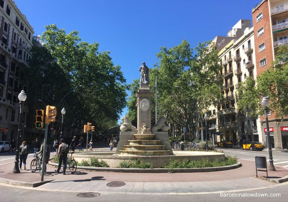 View of Passeig de Sant Joan and the Hercules fountain in Barcelona