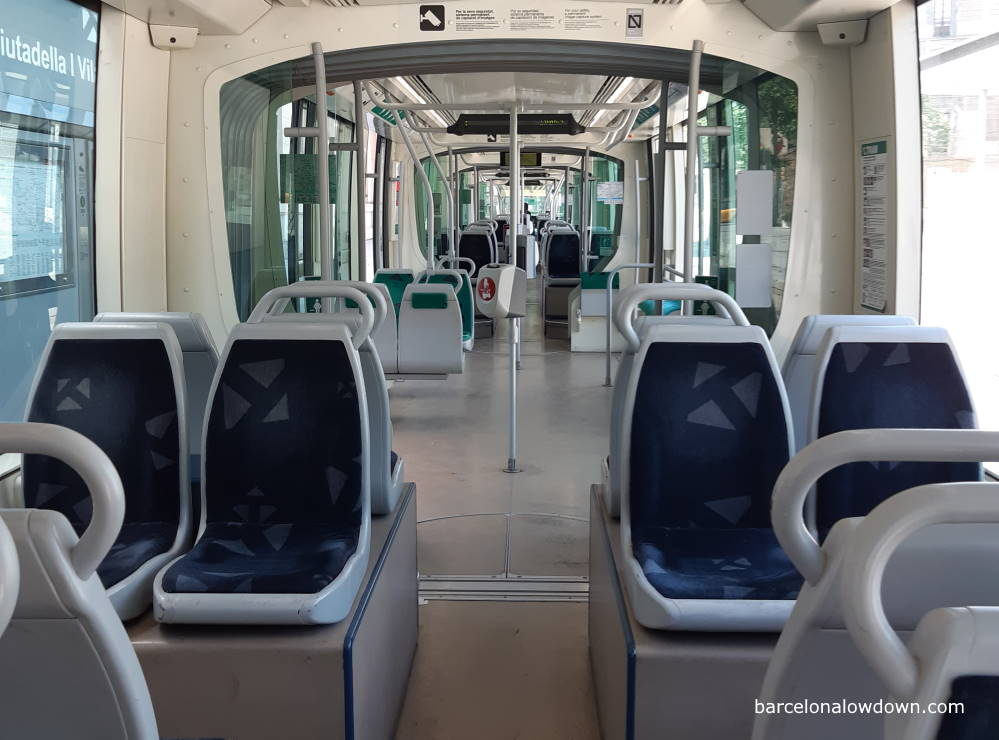 the interior of one of Barcelona's trams