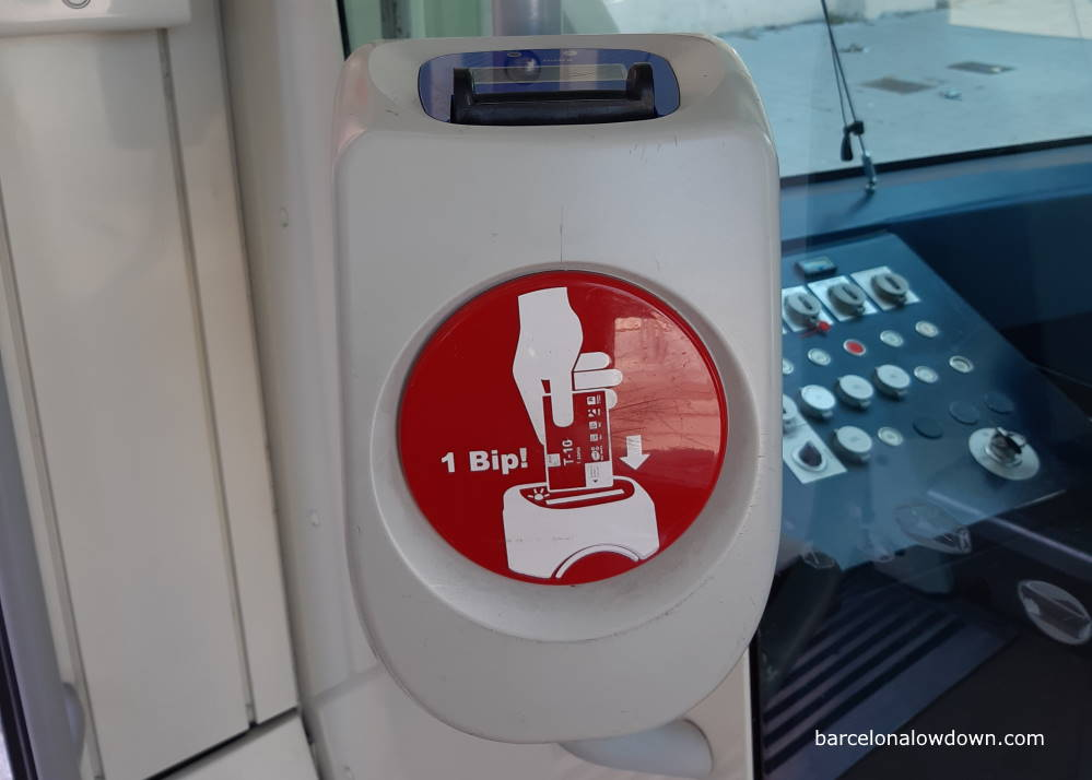 A ticket validating machine inside the Barcelona Tram system